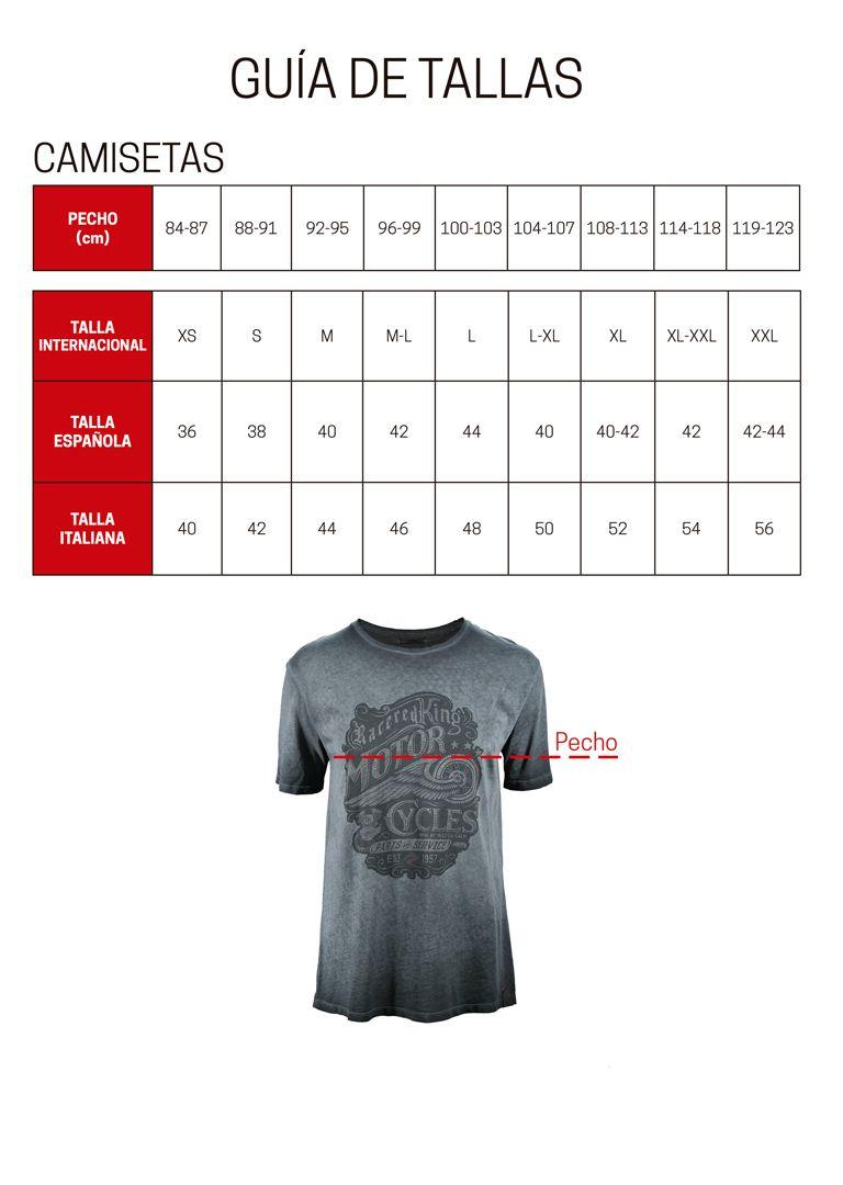 Guia de tallas camisetas