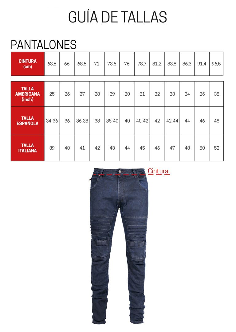 Guia de tallas pantalones